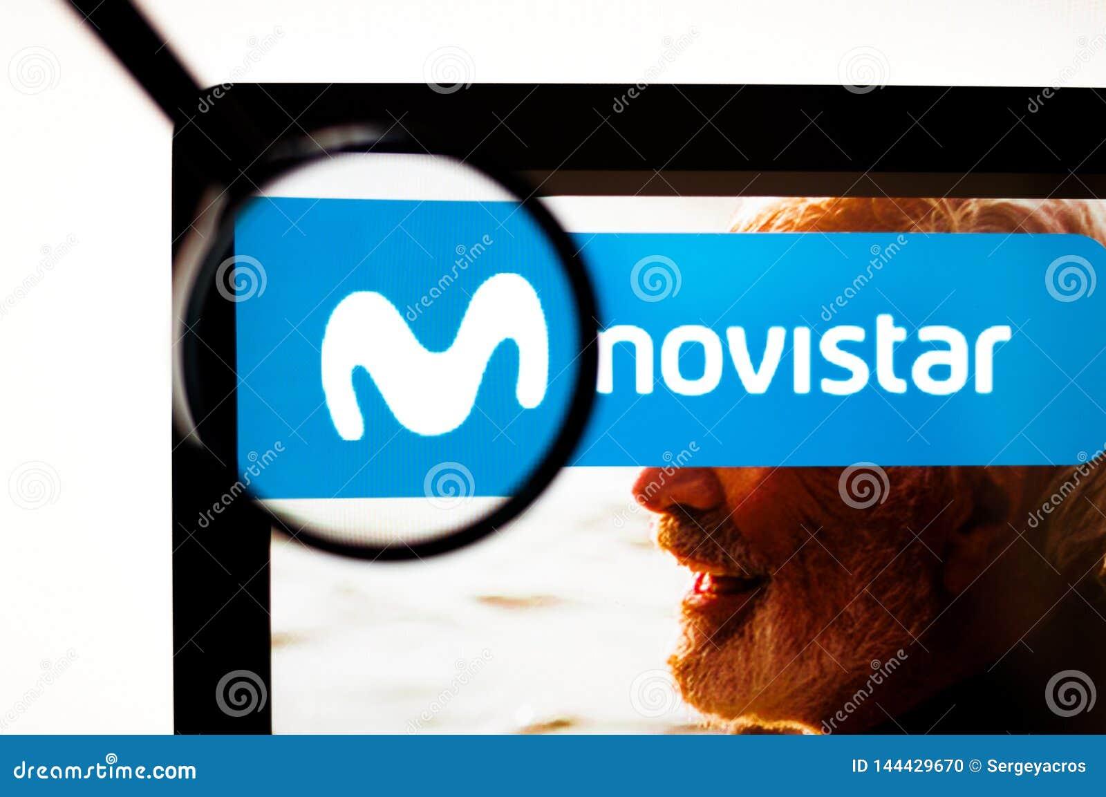 Kiev, Ukraine - april 6, 2019: Movistar logo visible