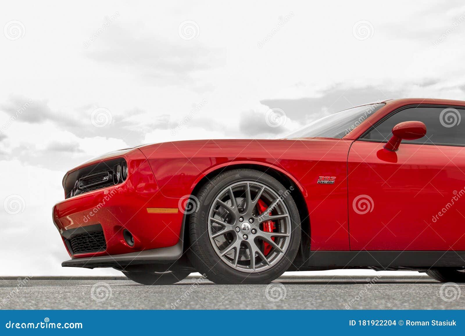 Kiev Ukraine April 21 2020 Muscle Car Dodge Challenger Srt8 392 Hemi Against The Sky Red Car On Sky Background Editorial Stock Image Image Of Motor Automobile 181922204