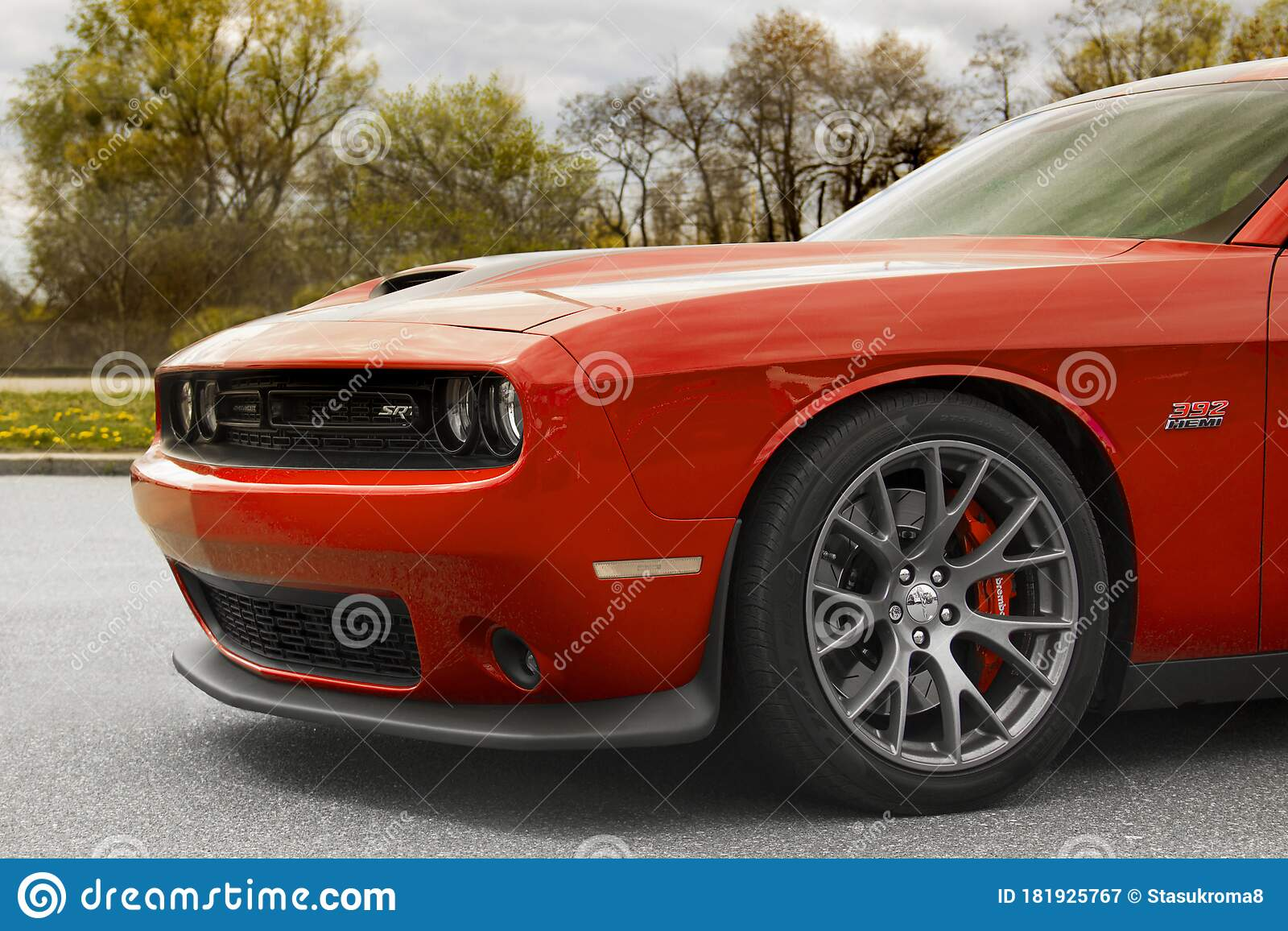 Kiev Ukraine April 21 2020 Muscle Car Dodge Challenger Srt8 392 Hemi On A Background Of Trees Red Car Editorial Photography Image Of Event Exhaust 181925767