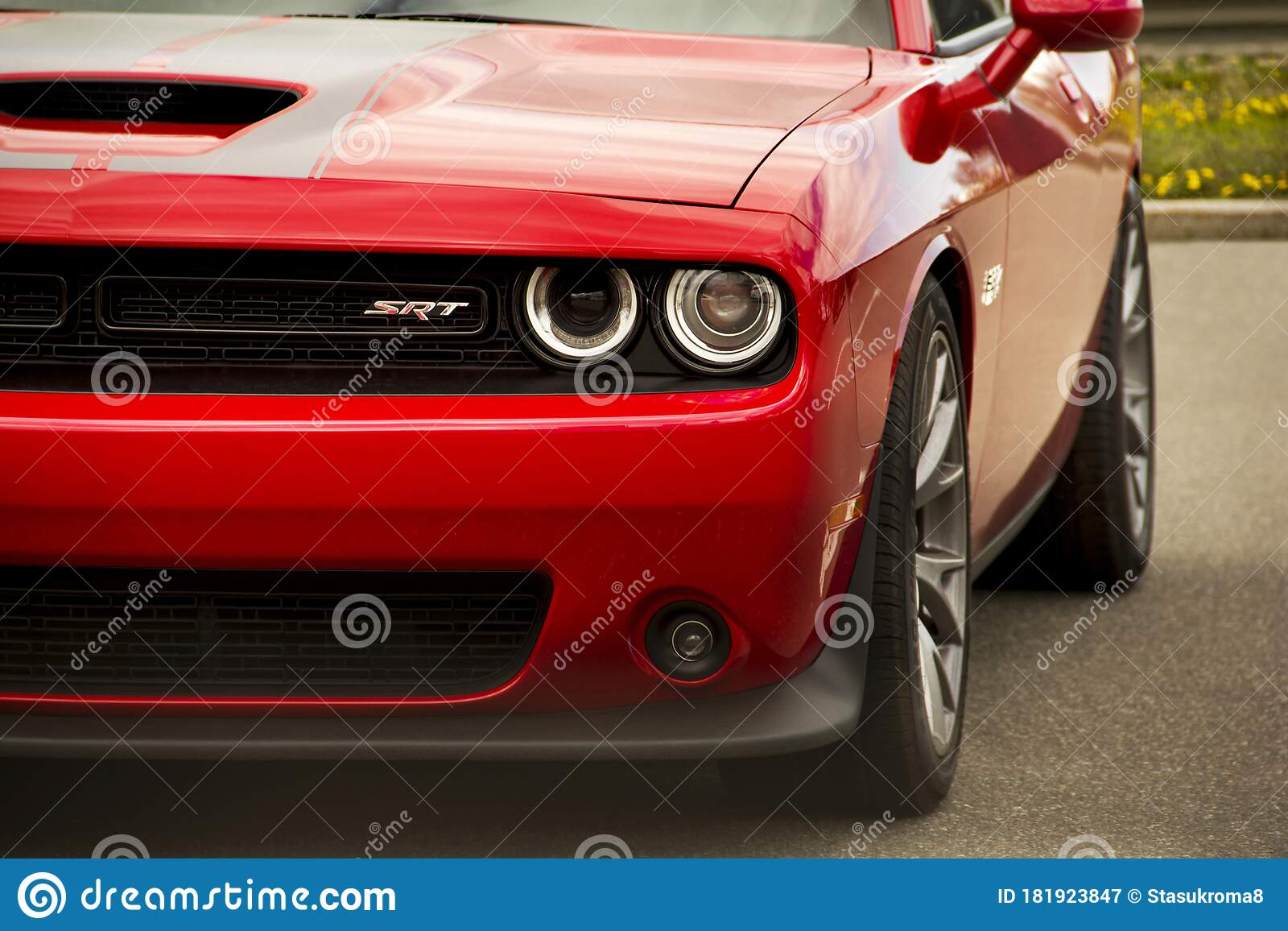 Kiev Ukraine April 21 2020 Muscle Car Dodge Challenger Srt8 392 Hemi Front Of The Car Close Up Red Car Editorial Photography Image Of Drive Modified 181923847