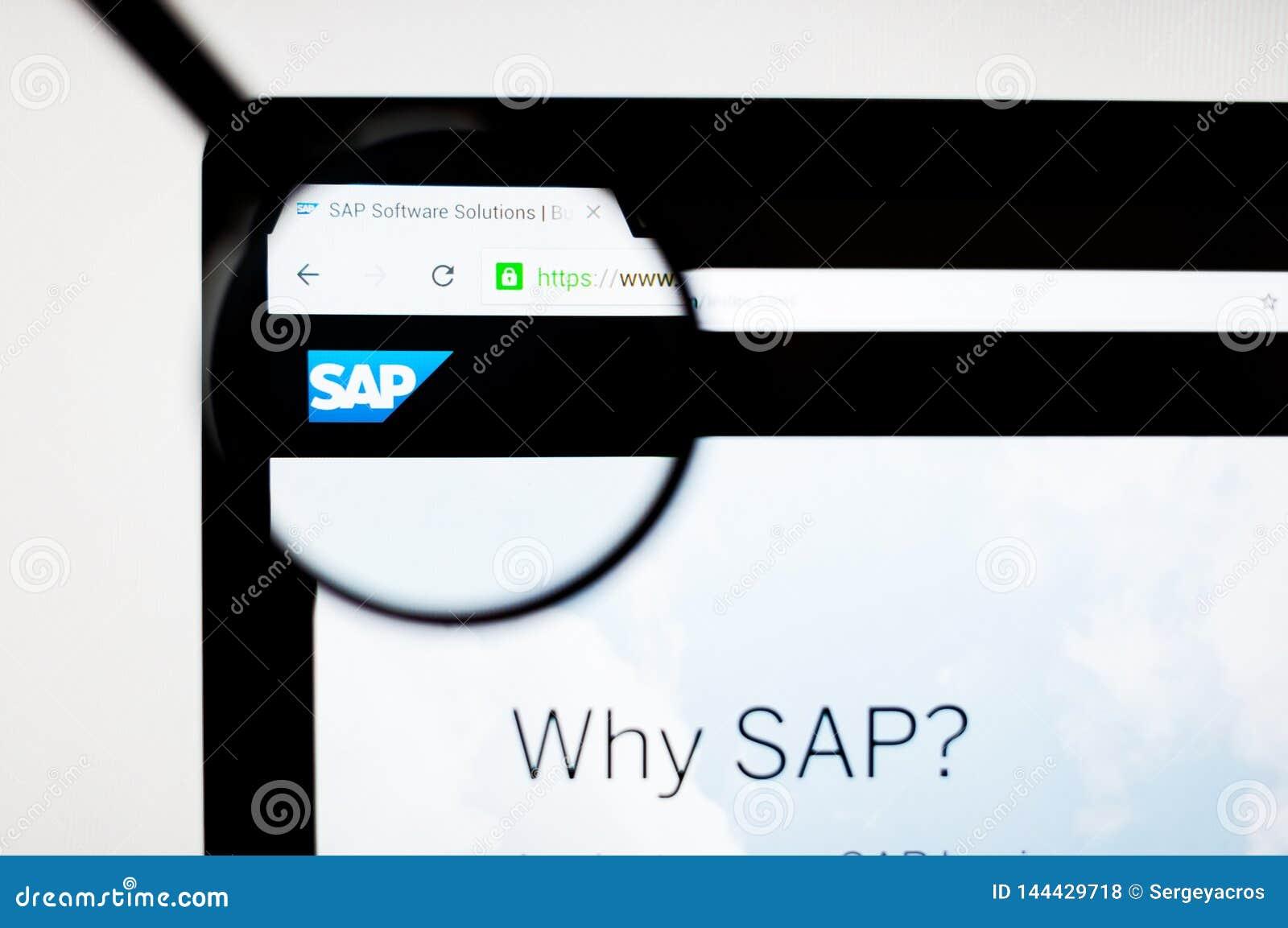 Kiev, Ukraine - april 6, 2019: Sap website homepage. It is a German multinational software corporation that makes enterprise