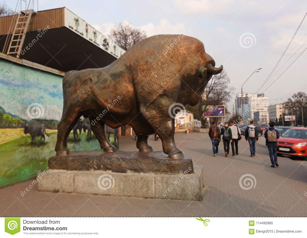 Sculpture of a bison near the zoo in Kiev