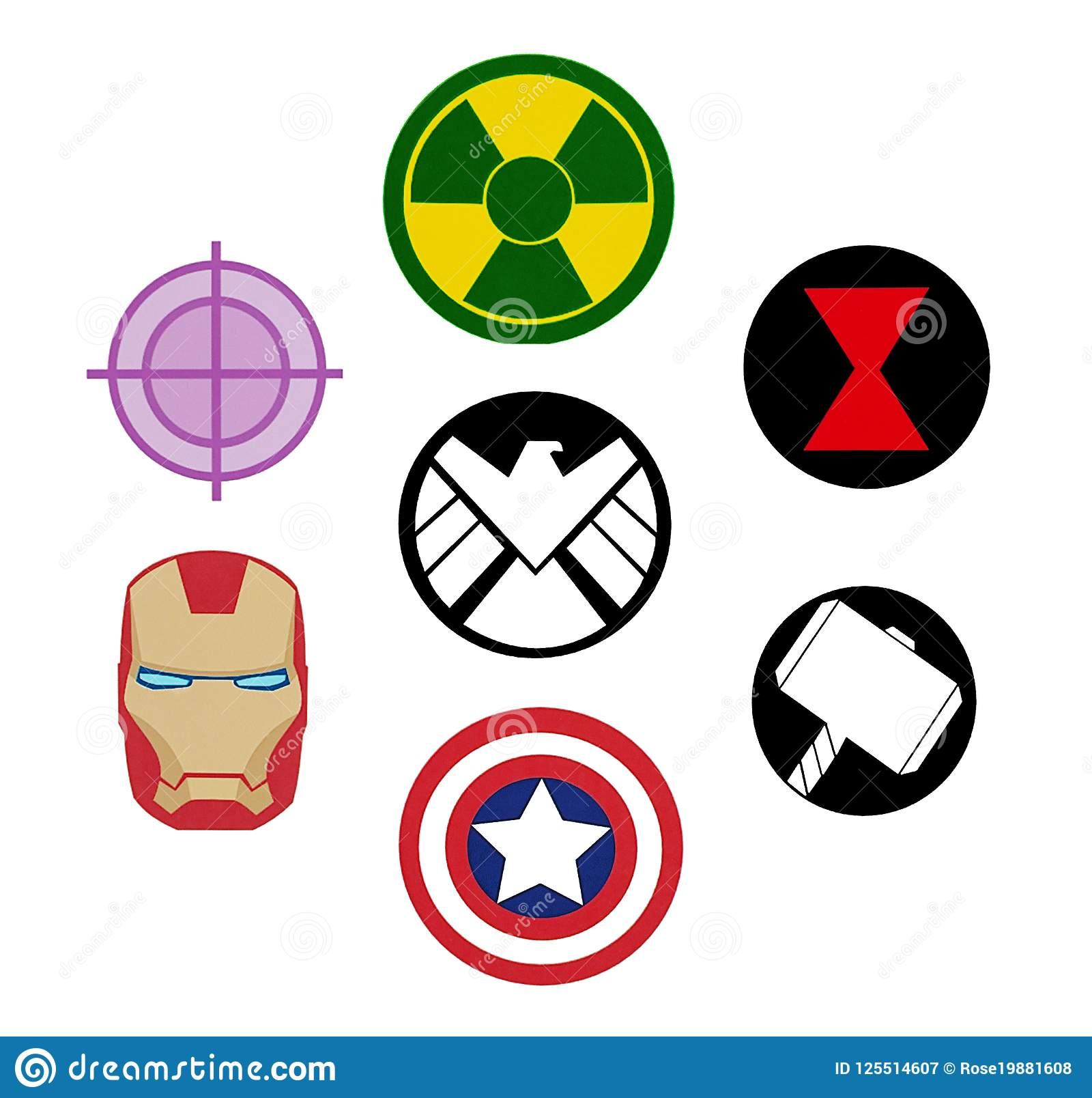 avengers character logos set of avengers marvel logos editorial photography