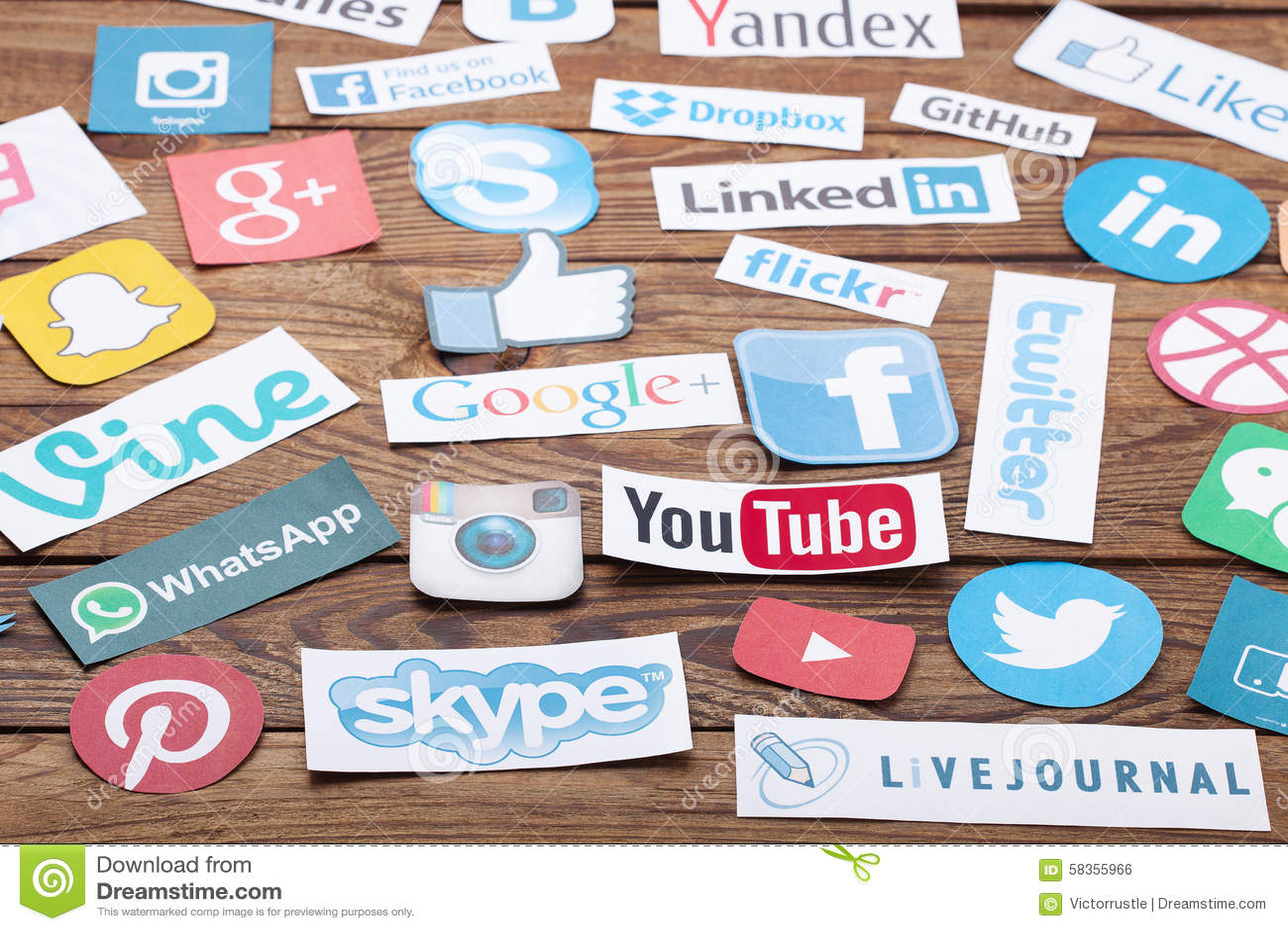 social media logos and names
