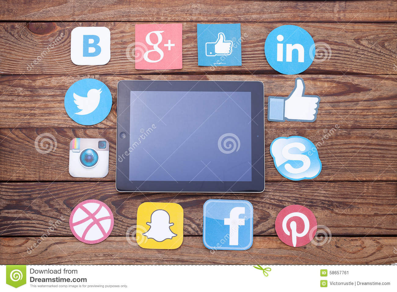 KIEV, UKRAINE - AUGUST 22, 2015: Famous social media icons such as: Facebook, Twitter, Blogger, Linkedin, Google Plus, Instagram