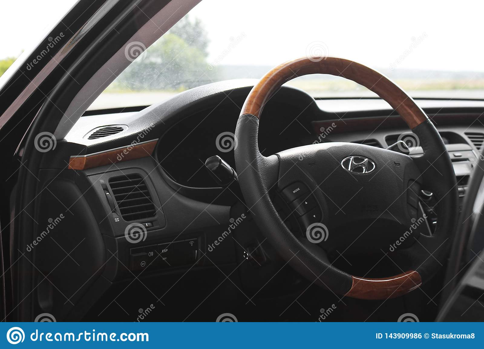 Kiev, Ukraine - August 6, 2018: Hyundai Grandeur. View of the interior of a modern automobile showing the dashboard