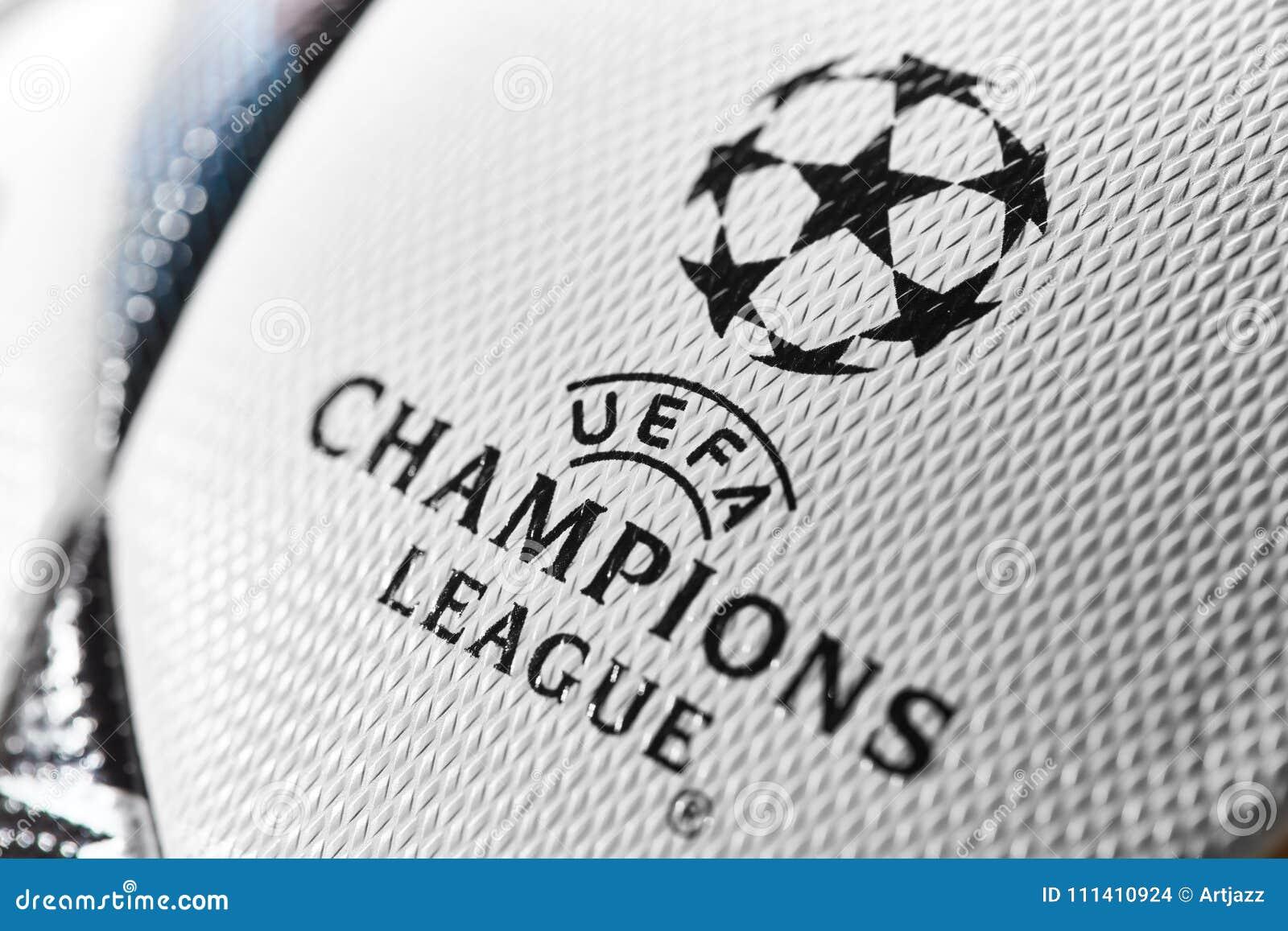 f2381583f Kiev, Ukraine - February 22, 2018: Official UEFA Champions League 2018  season ball Adidas Final Kiev during UEFA Champions League game at NSC  Olimpiyskyi ...