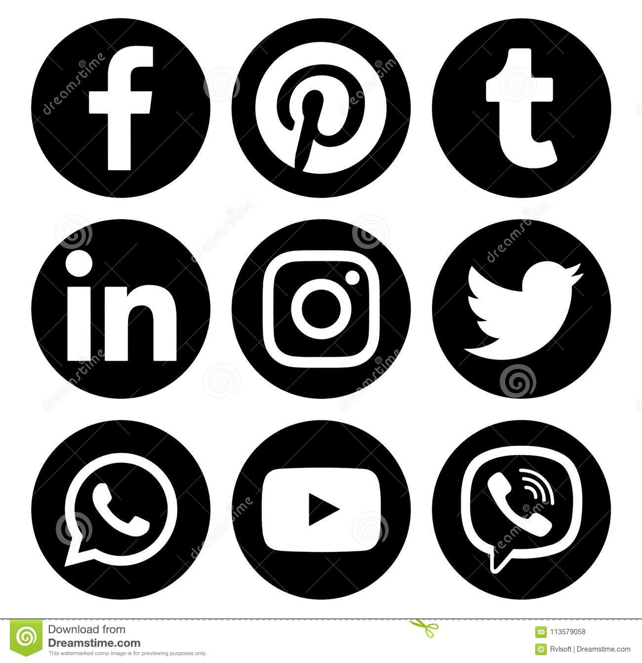 Popular Circle Social Media Black Logos Editorial Stock