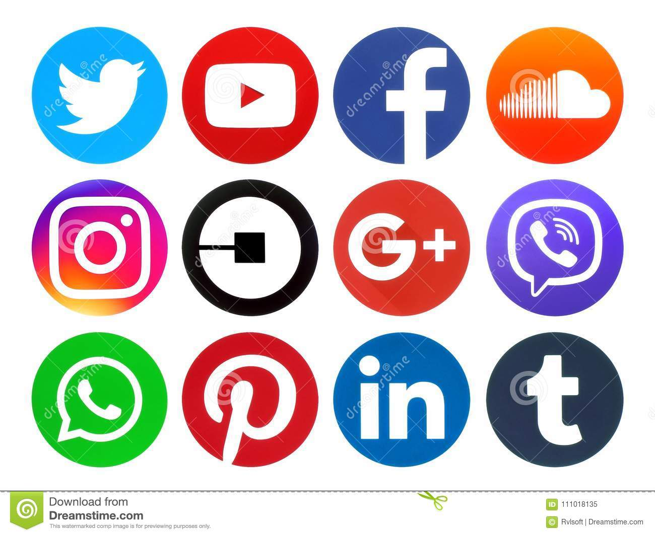 Popular Circle Social Media Logos Editorial Image - Image of apple