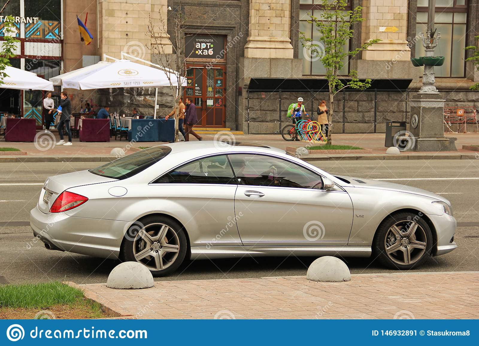 Kiev, Ukraine - May 3, 2019: Beautiful Mercedes CL in the city