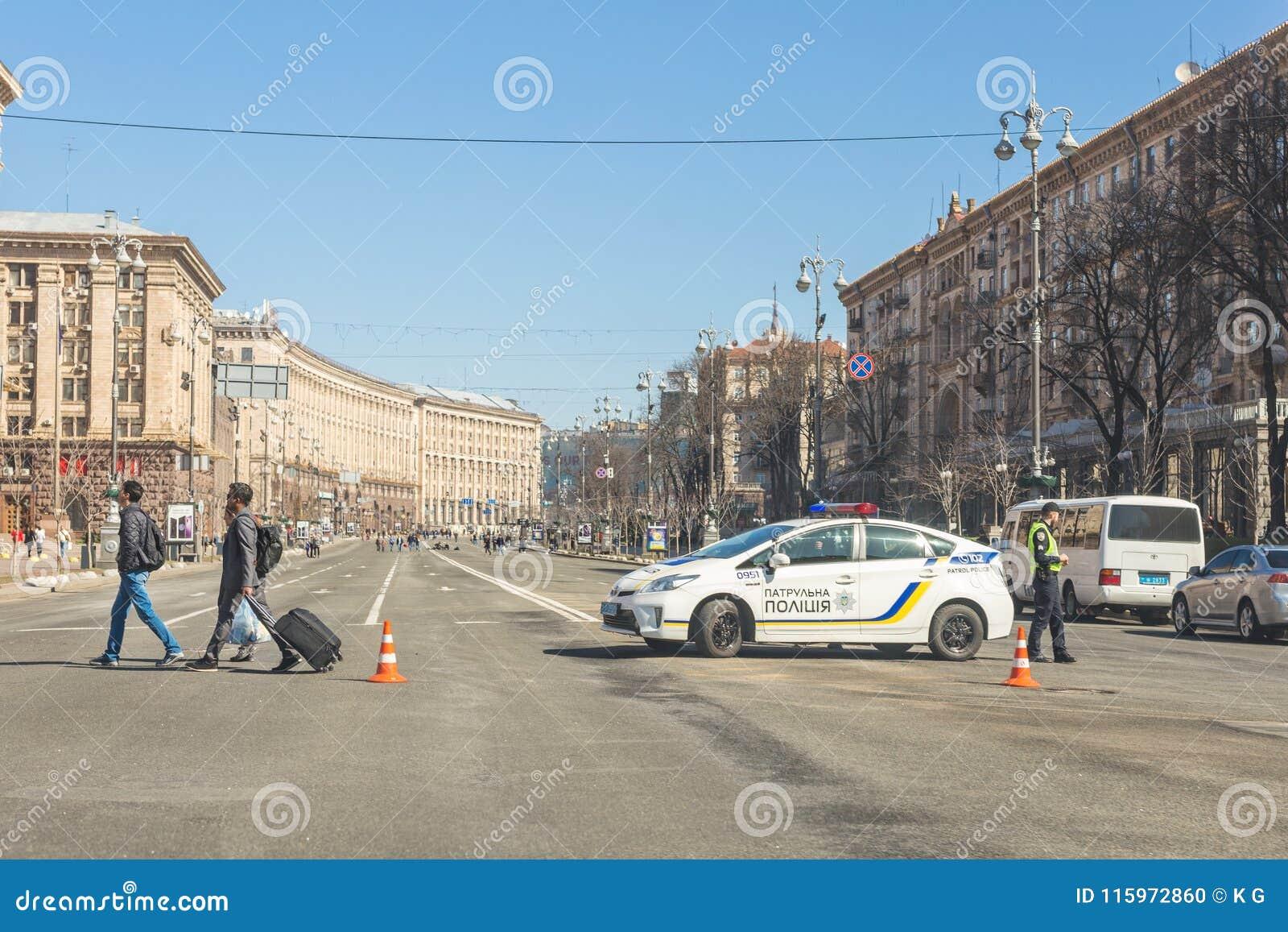 Kiev,Ukraine - May 06, 2017:Central street of ukrainian capital Kyiv Khreschatyk closed for traffic by police car and