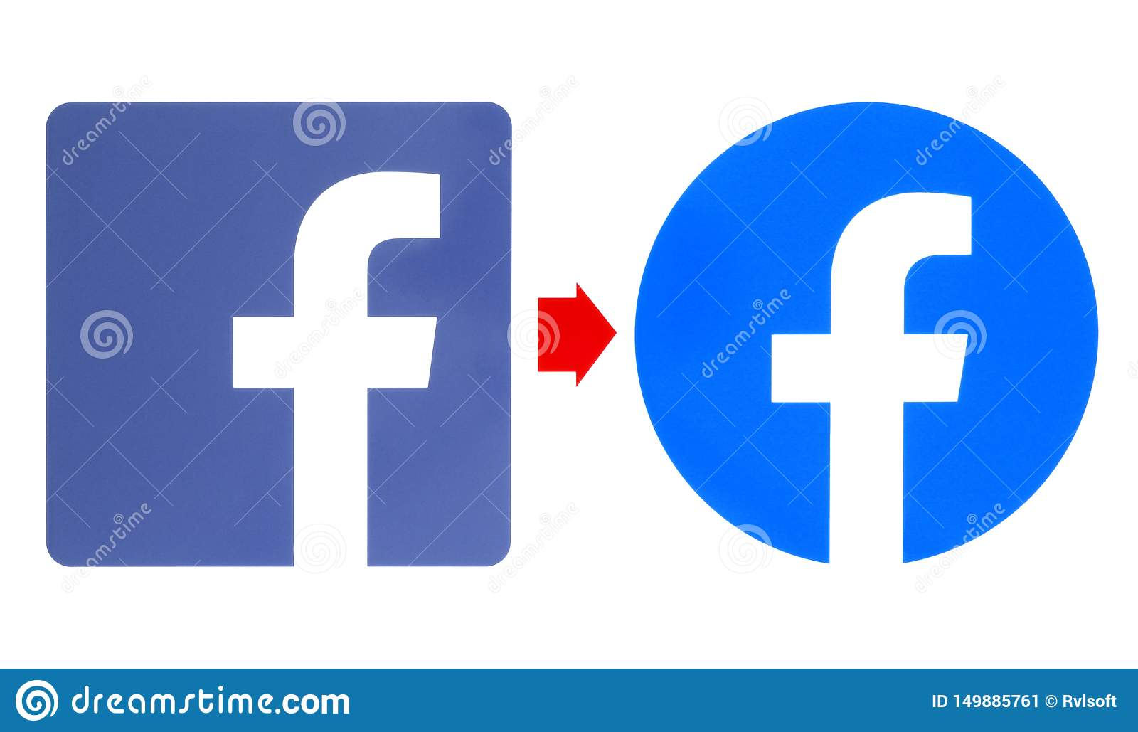 New and old Facebook logos