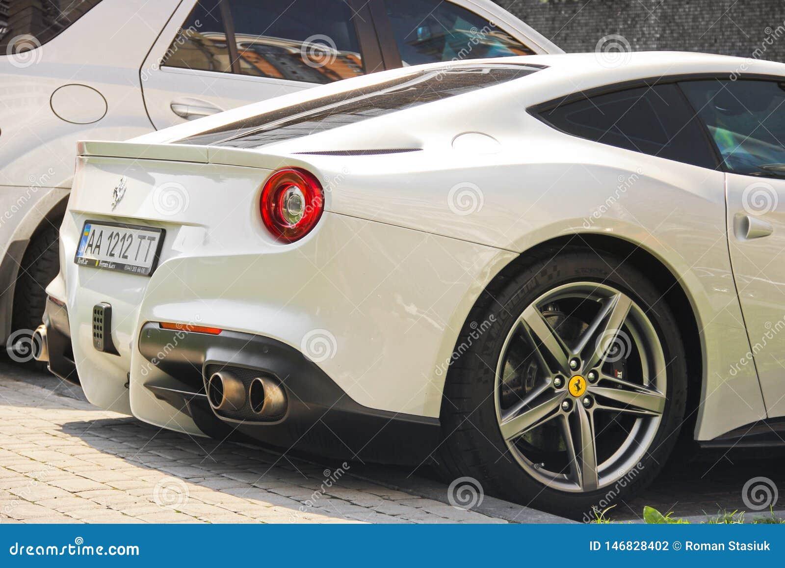 Kiev Ukraine May 3 2019 White Ferrari F12 Berlinetta In The