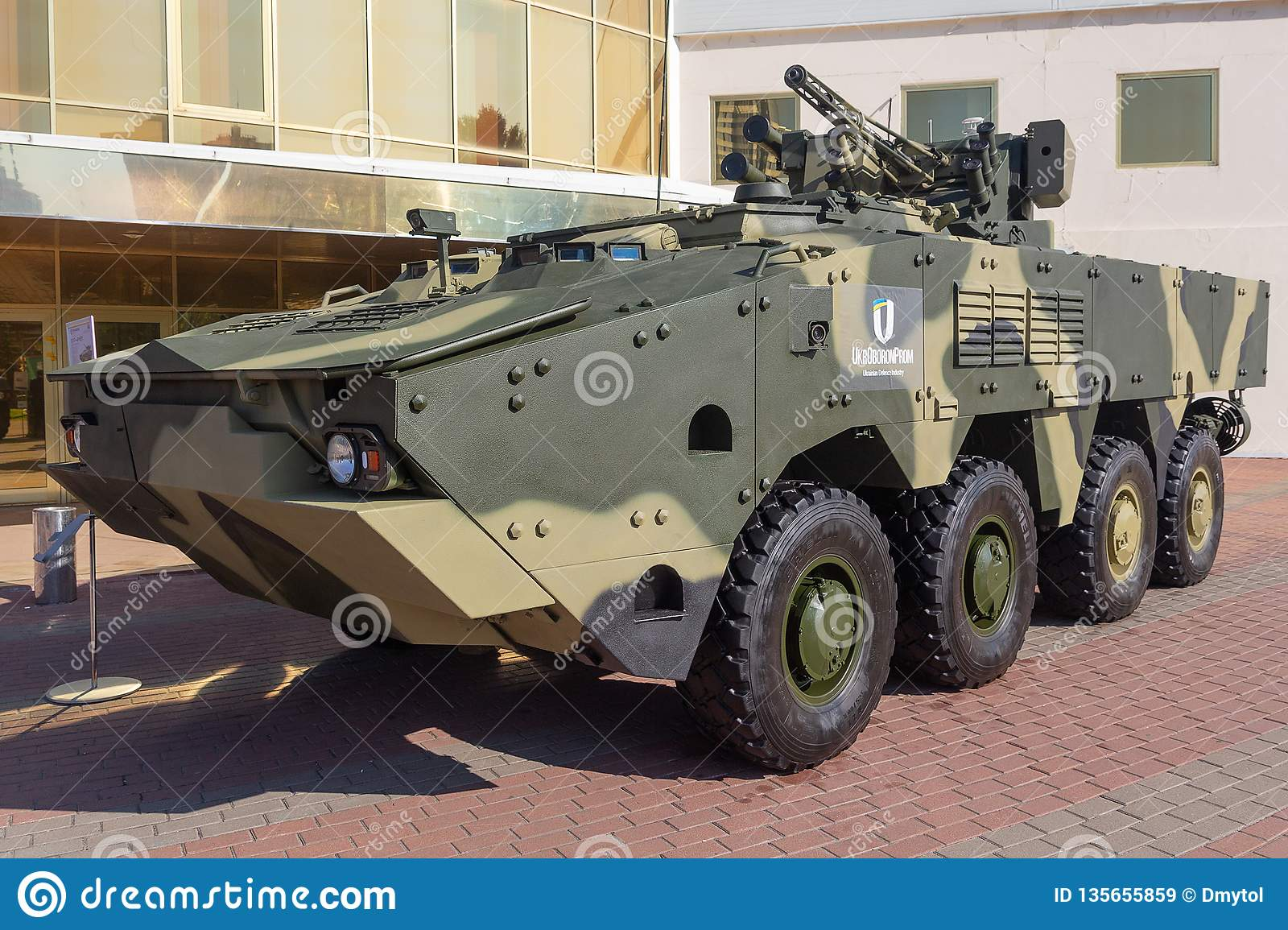 Kiev, Ukraine - October 10, 2018: Armored personnel carrierf BTR-4 the Ukrainian production at the Weapon