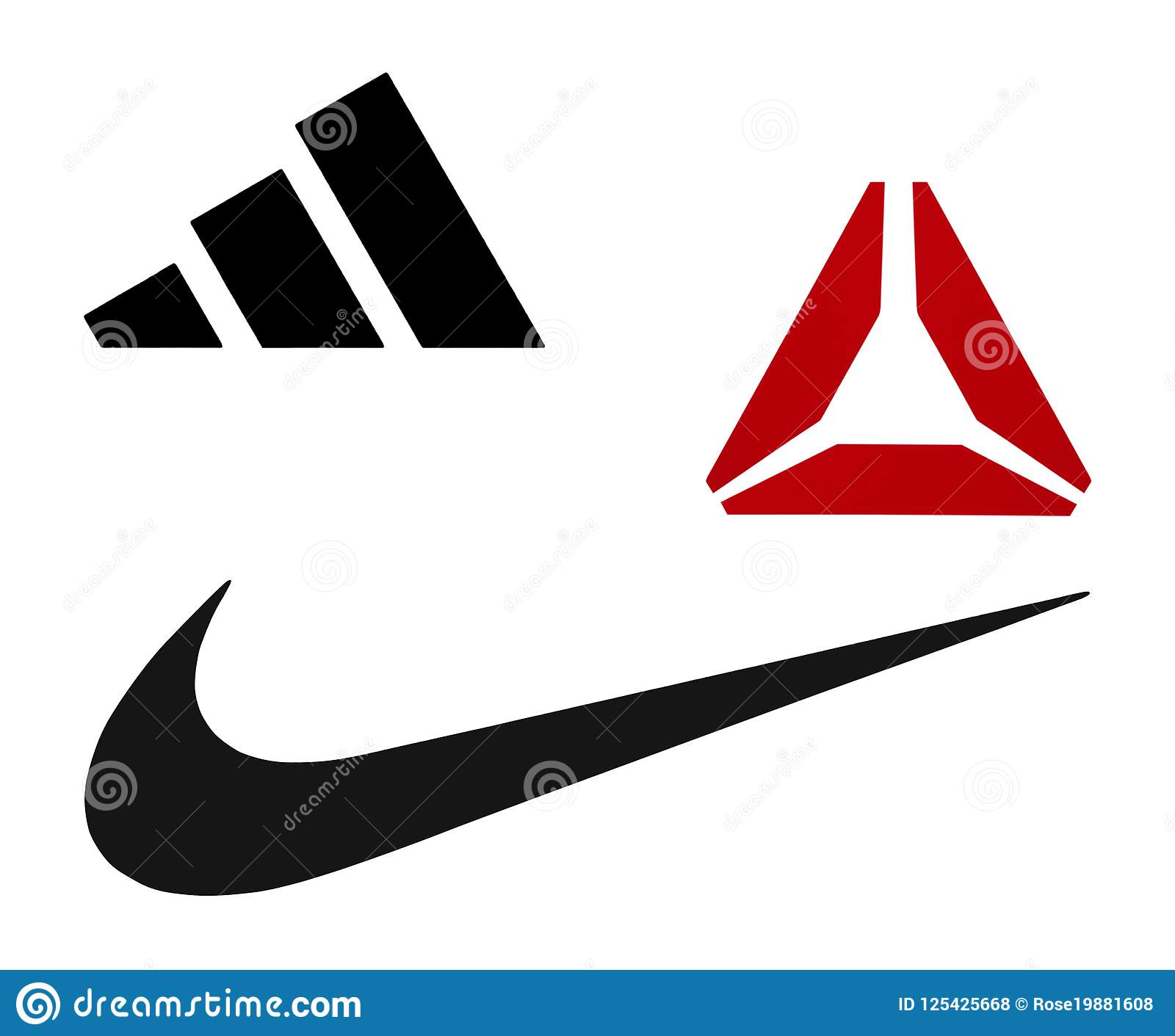 Nike, Reebok And Adidas Logos Editorial Stock Photo