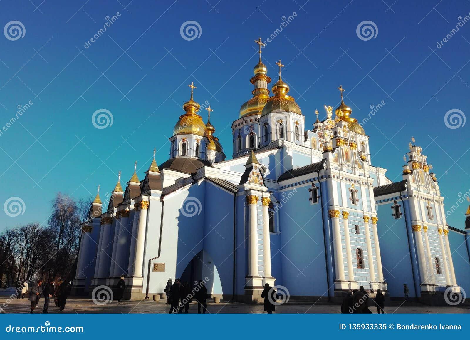 Kiew Ukraine - 26 12 2018: St Michael u. x27; Golden-gewölbtes Kloster s, berühmter Kirchenkomplex in Europa