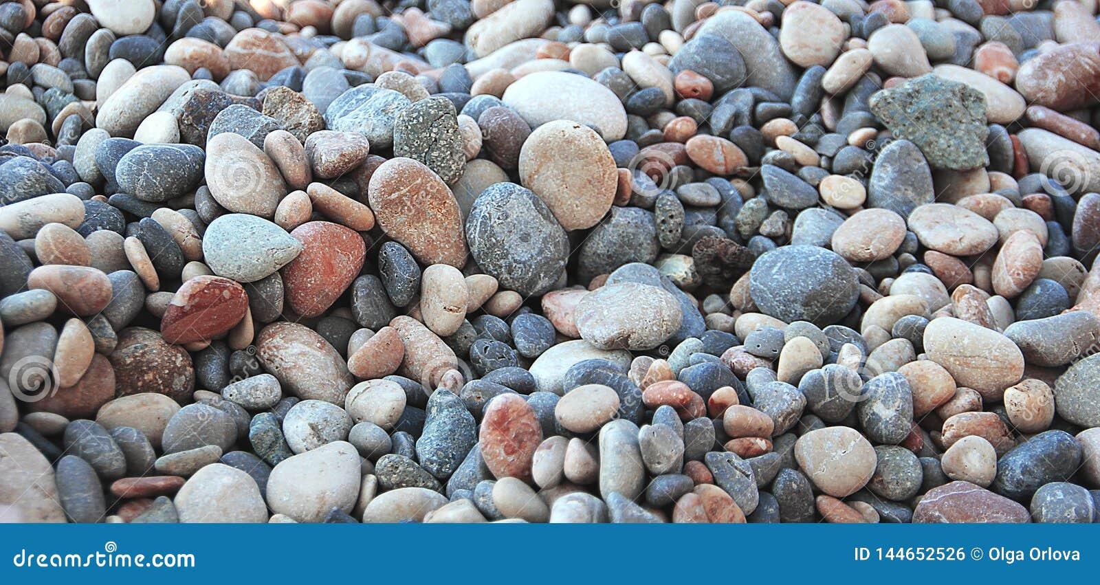 Kiezelstenen door het overzees Foto s van kiezelstenen op de kust