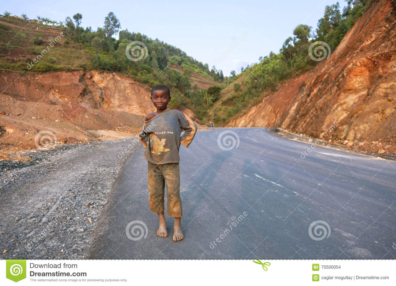 Children nude on camera KIGALI, RWANDA - SEPTEMBER 6, 2015: Unidentified child. A child on the