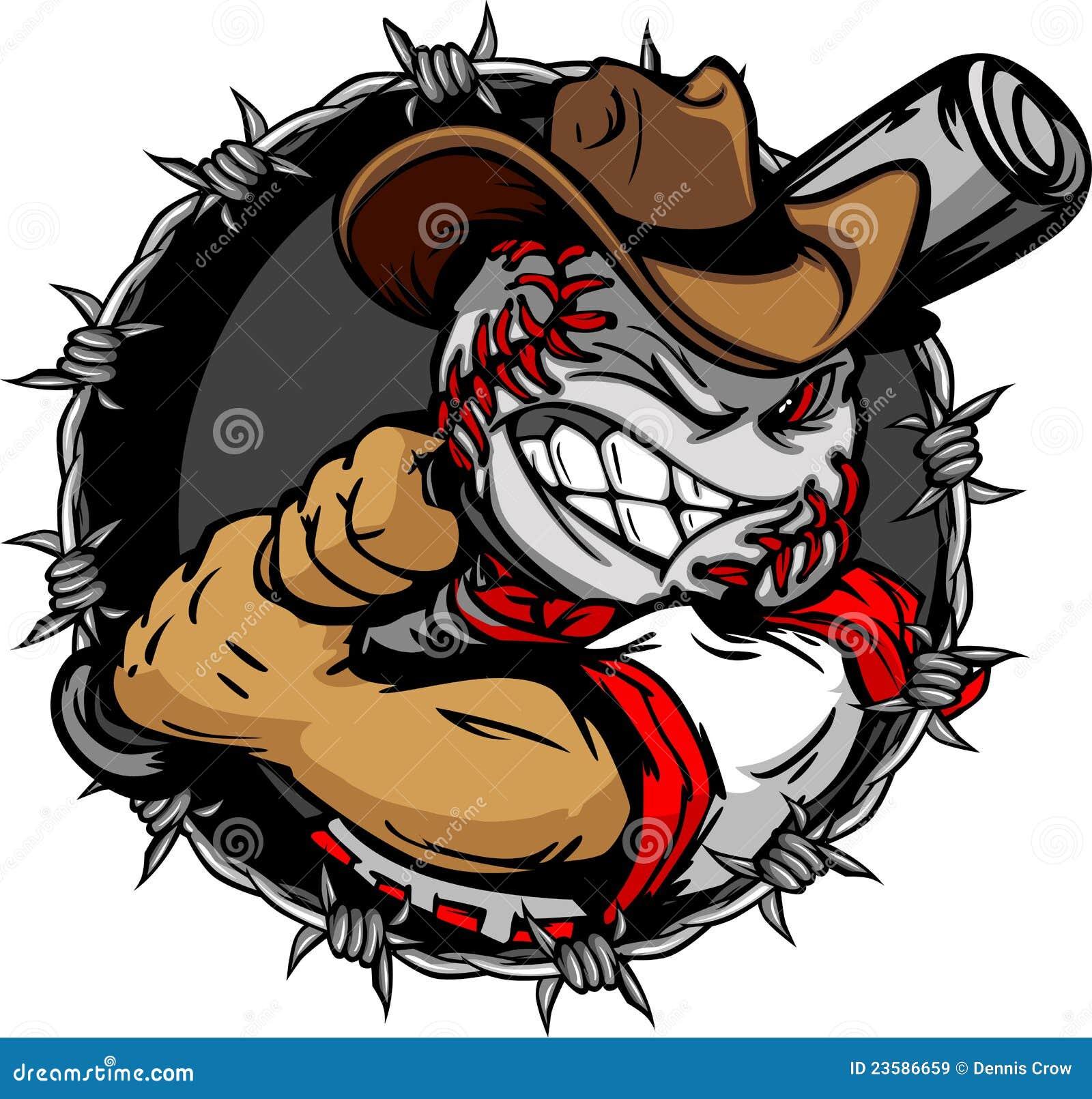 Kij bejsbolowy kreskówki kowbojski twarzy mienie