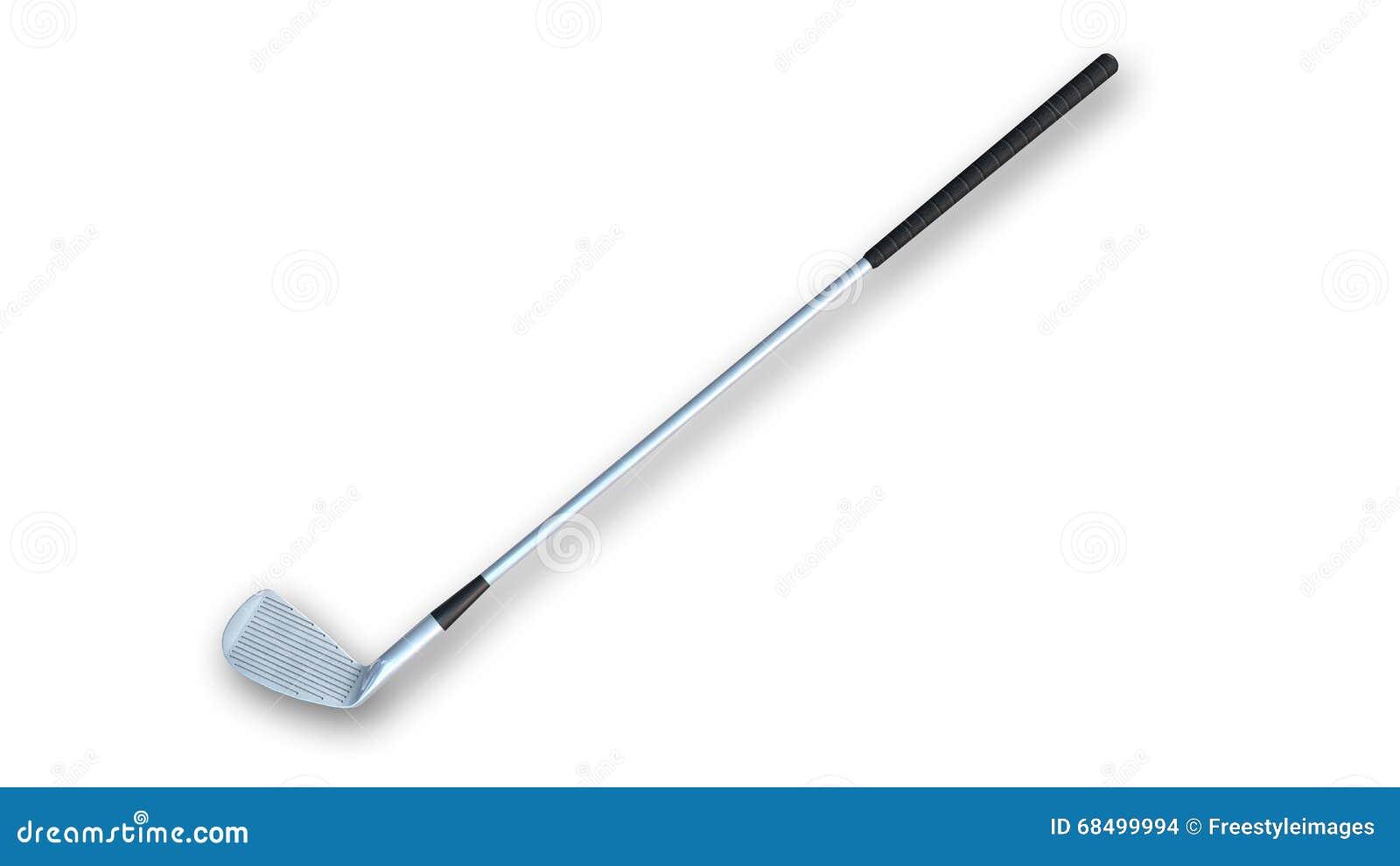 Kij Golfowy, żelazo; sporta wyposażenie odizolowywający na białym, bocznym widoku,