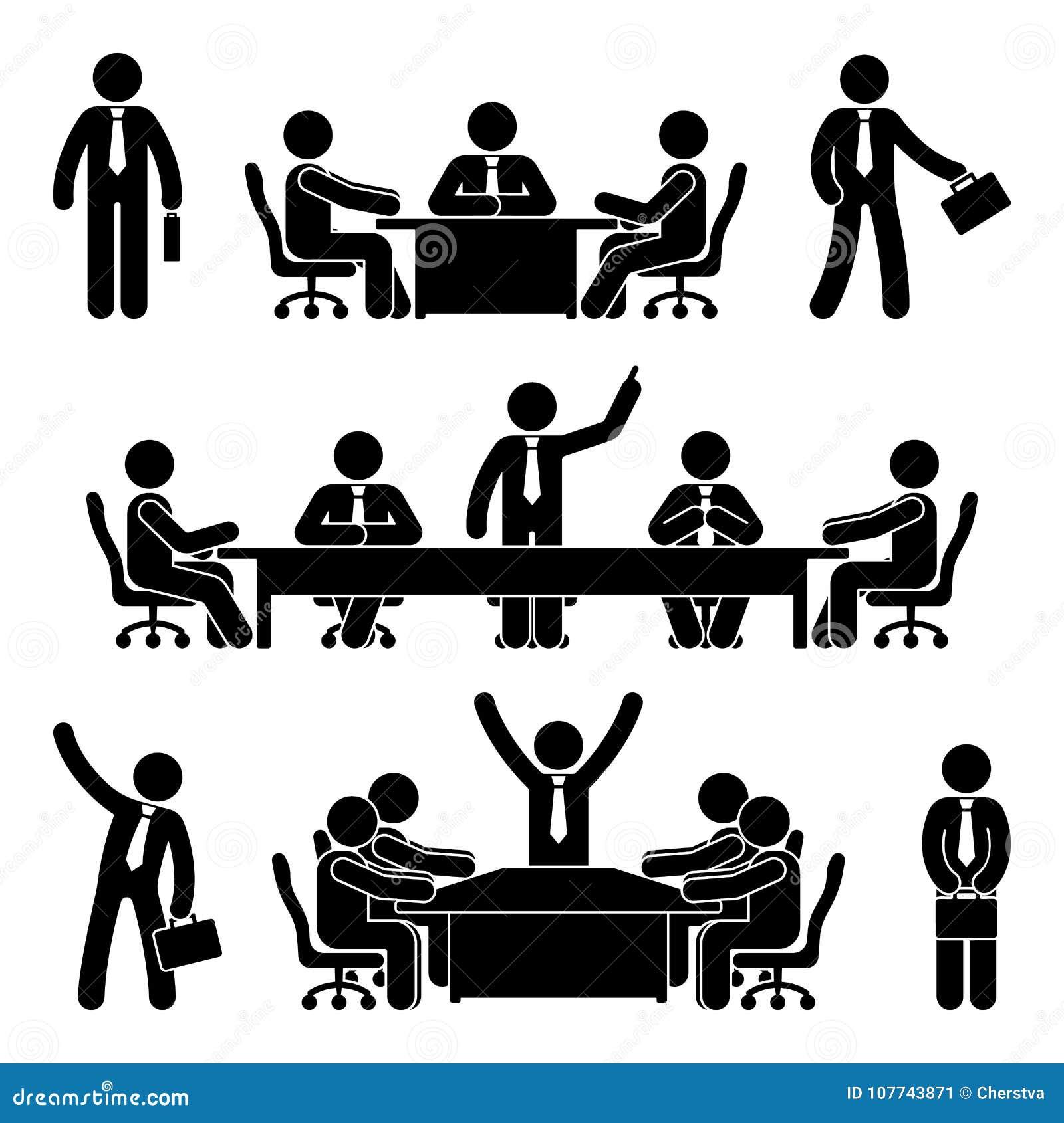 Kij postaci biznesowego spotkania set Finansowa mapy osoby piktograma ikona Pracownika rozwiązania marketingowa dyskusja