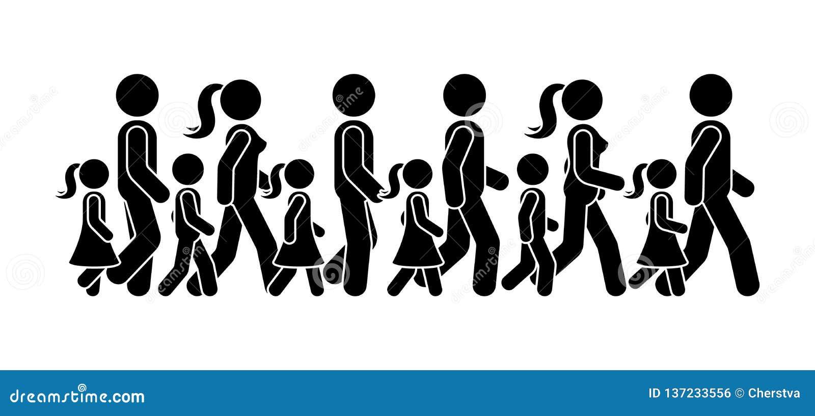 Kij postaci chodzącego grupa ludzi ikony wektorowy piktogram Mężczyzny, kobiety i dzieci sekwencji poruszający set, naprzód