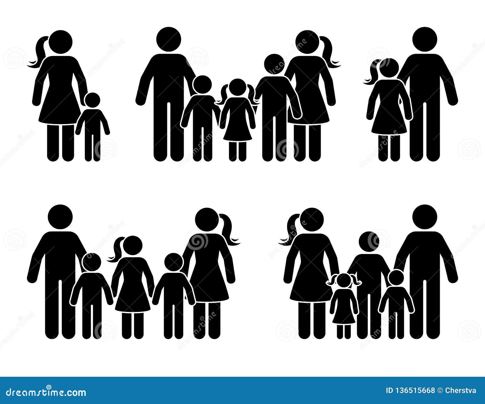 Kij postaci duża rodzinna ikona stoi wpólnie Rodziców i dzieciaków odosobniony piktogram