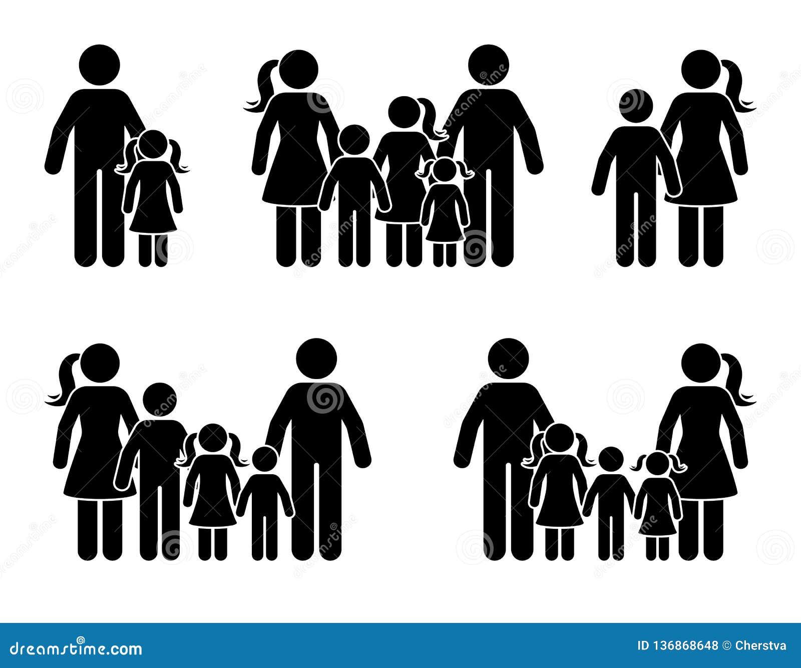 Kij postaci dzieci i rodziców ikony set Duży szczęśliwy rodzinny czarny piktogram