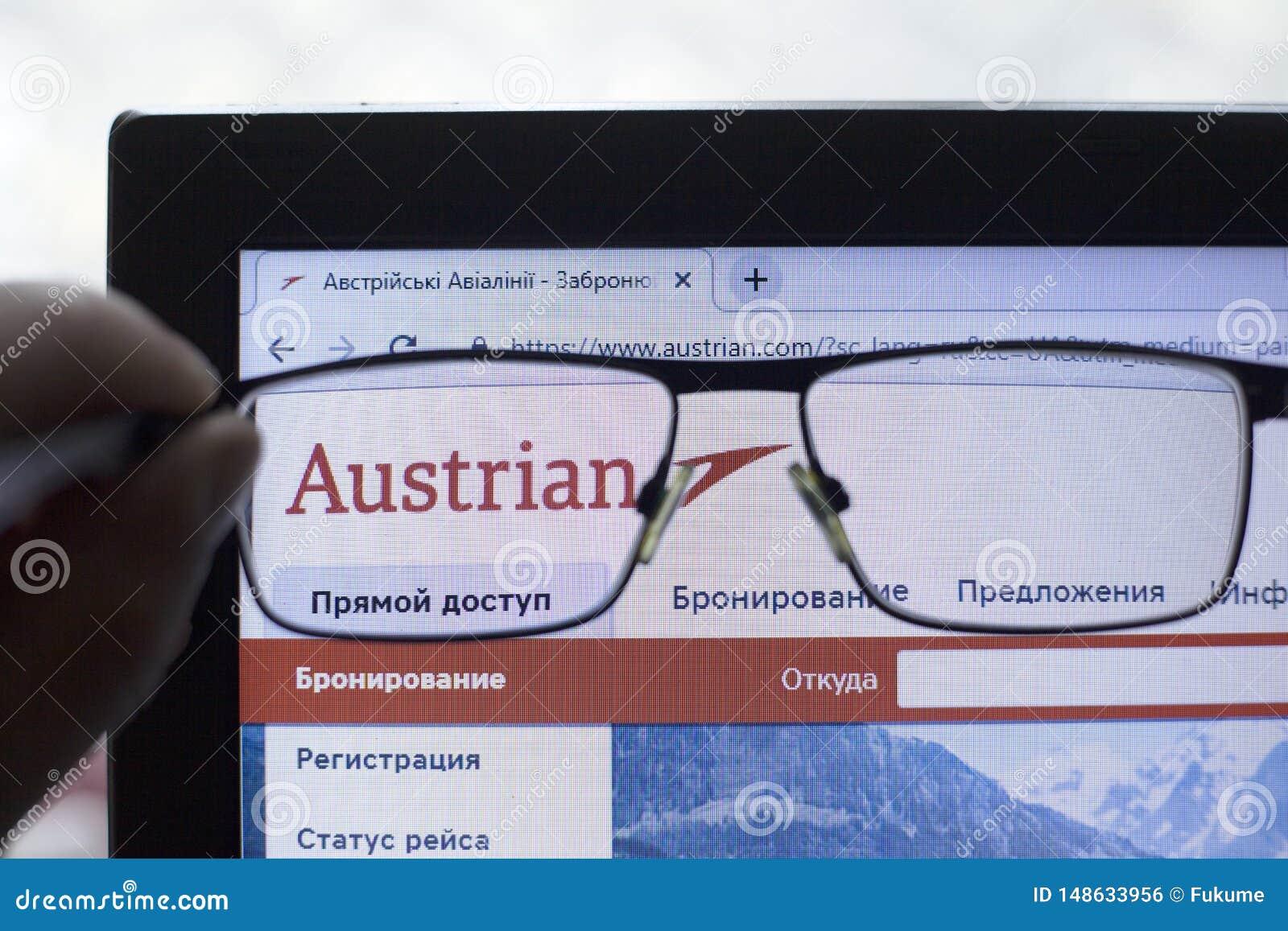 Kij?w, Ukraina 05 17 2019: Austrian Airlines AG ikony Illustrative artyku? wst?pny