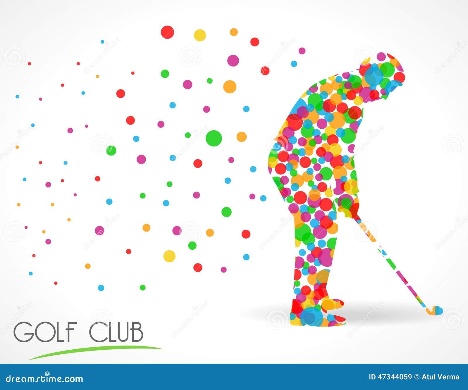 Kija golfowego znak, kija golfowego turnieju pojęcie, płaska koloru okręgu stylu grafika