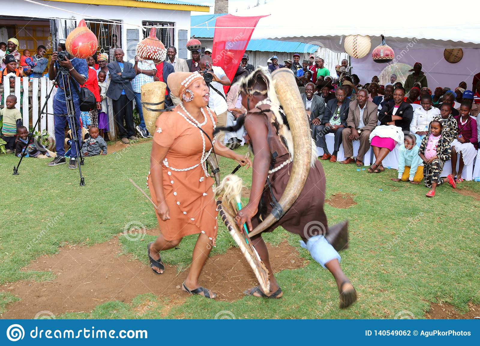 Traditional dancers perform in A Kikuyu African wedding ceremony