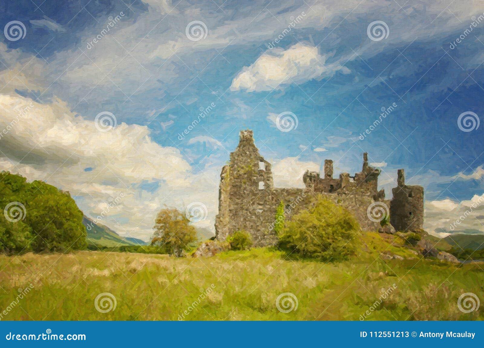 Kilchurn kasztelu krajobrazu Cyfrowego obraz