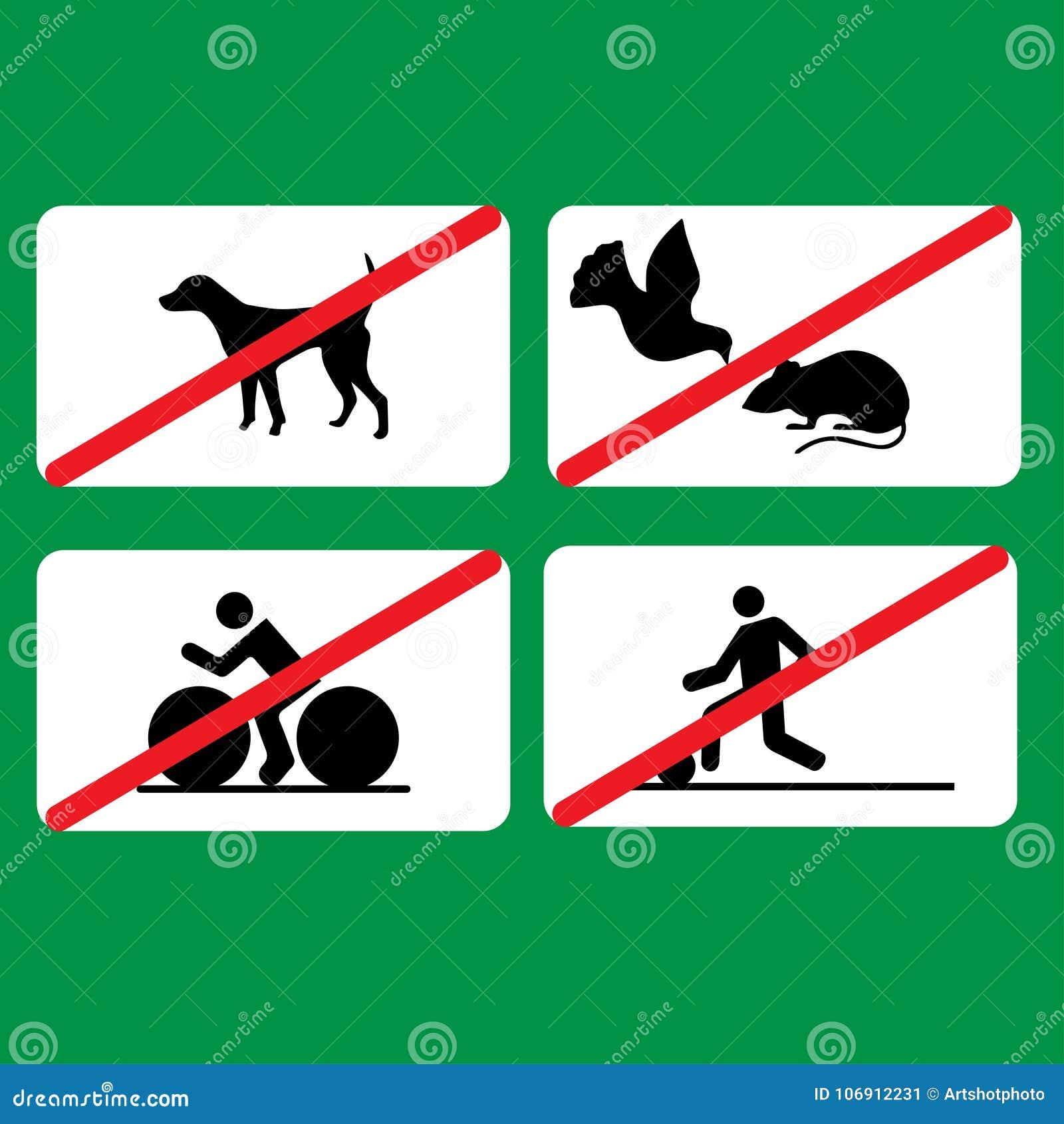 Kilka prohibicje podpisują wewnątrz parka: żadny kolarstwo, nie