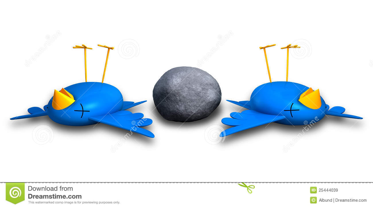 Kill Two Birds With One Stone Stock Illustration