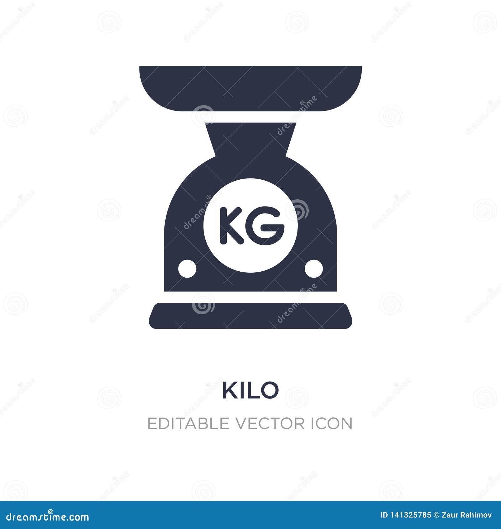 Kiloikone auf weißem Hintergrund Einfache Elementillustration vom allgemeinen Konzept