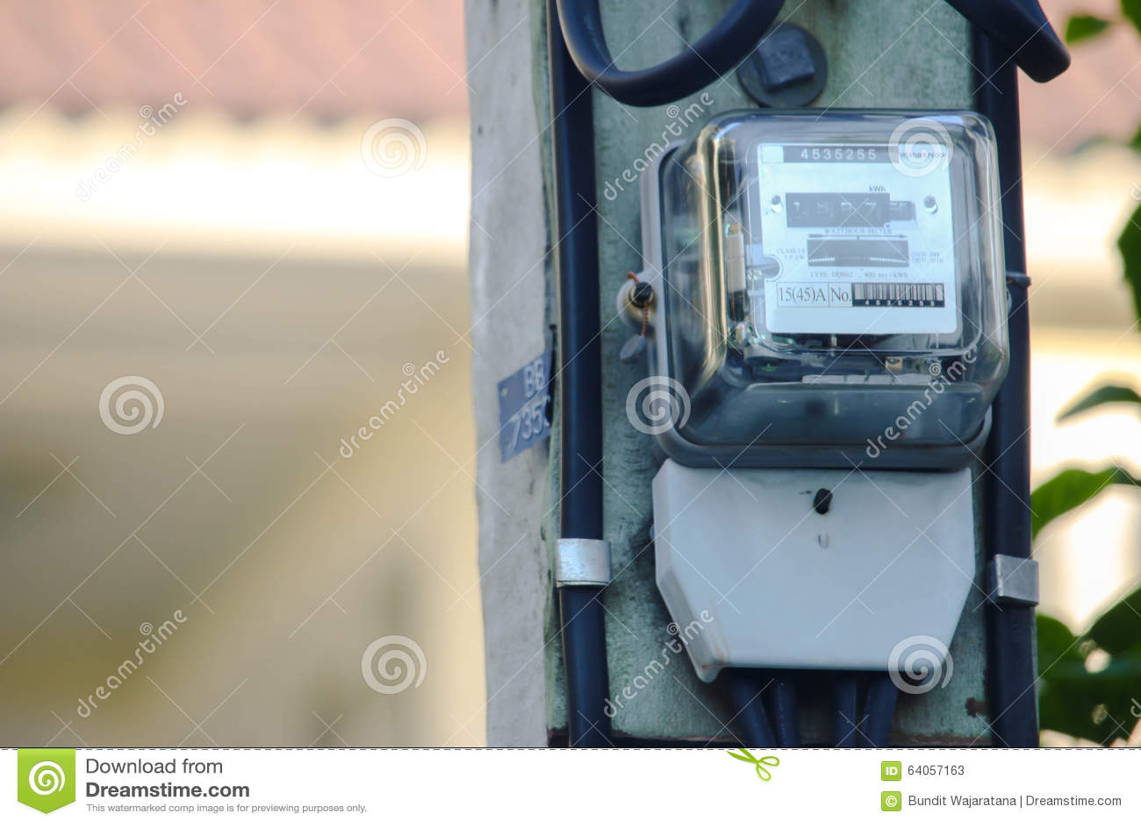 Kilowatt hour meter pole stock image  Image of technology - 64057163