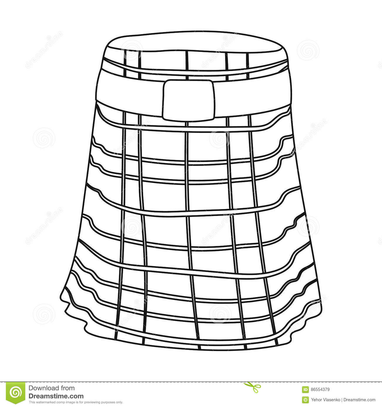 Kilt Icon In Outline Style Isolated On White Background Scotland Country Symbol Stock Vector