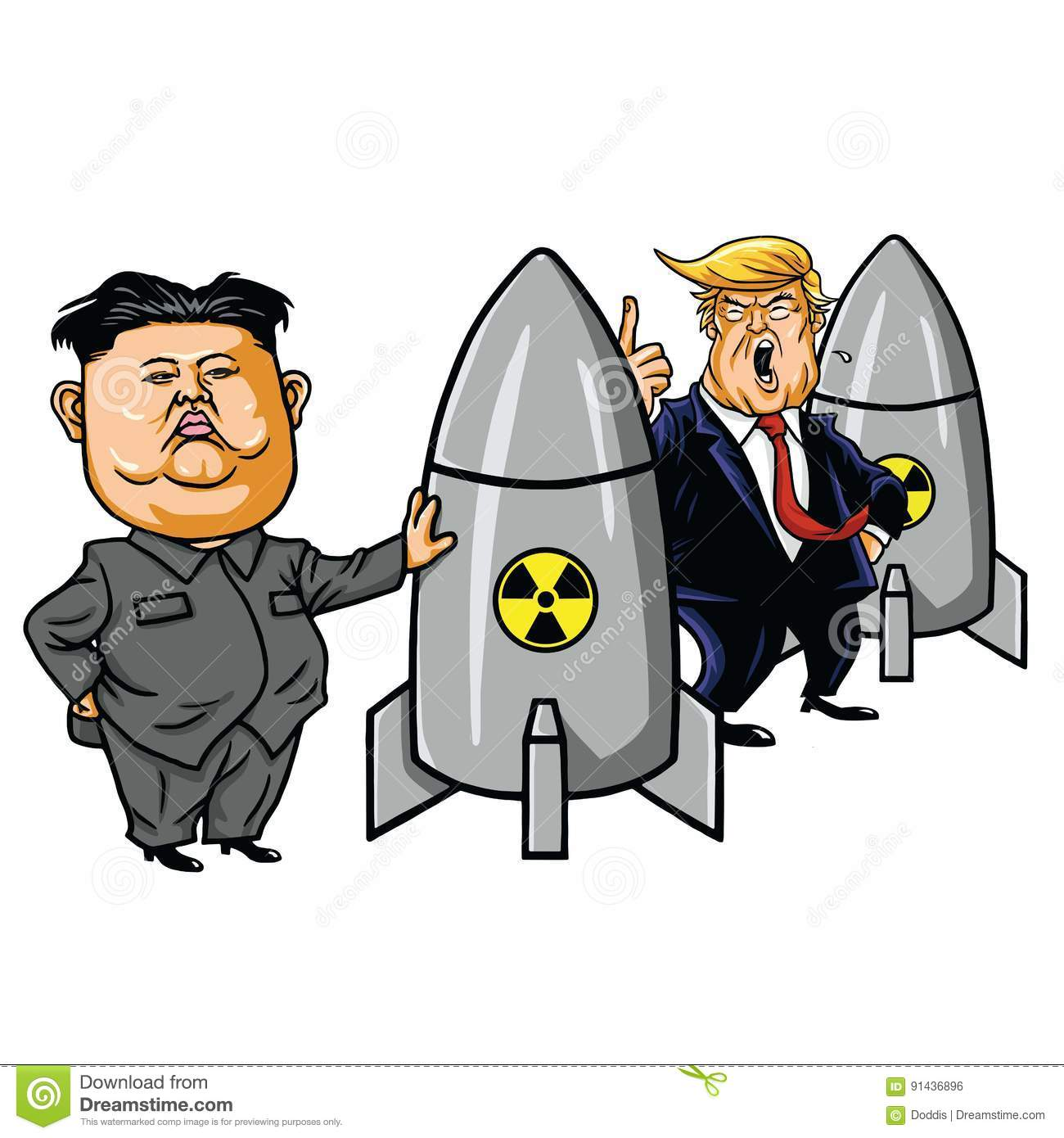 Kim Jong-FN vs Donald Trump Cartoon Caricature Vector