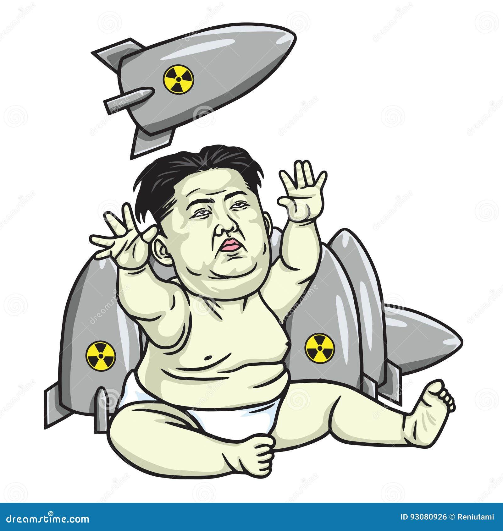 Kim Jong Un Playing Missiles Cartoon Vector Illustration May
