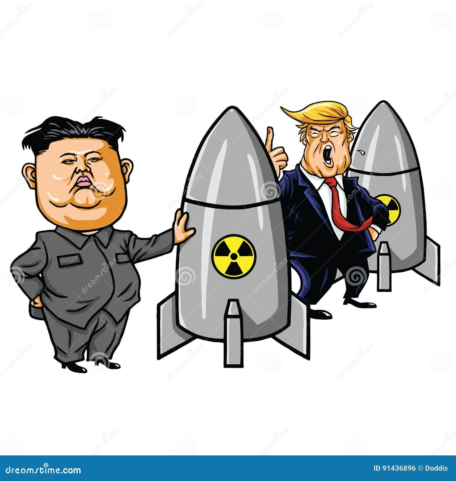 Kim Jong Un Vs Donald Trump Cartoon Caricature Vector Editorial