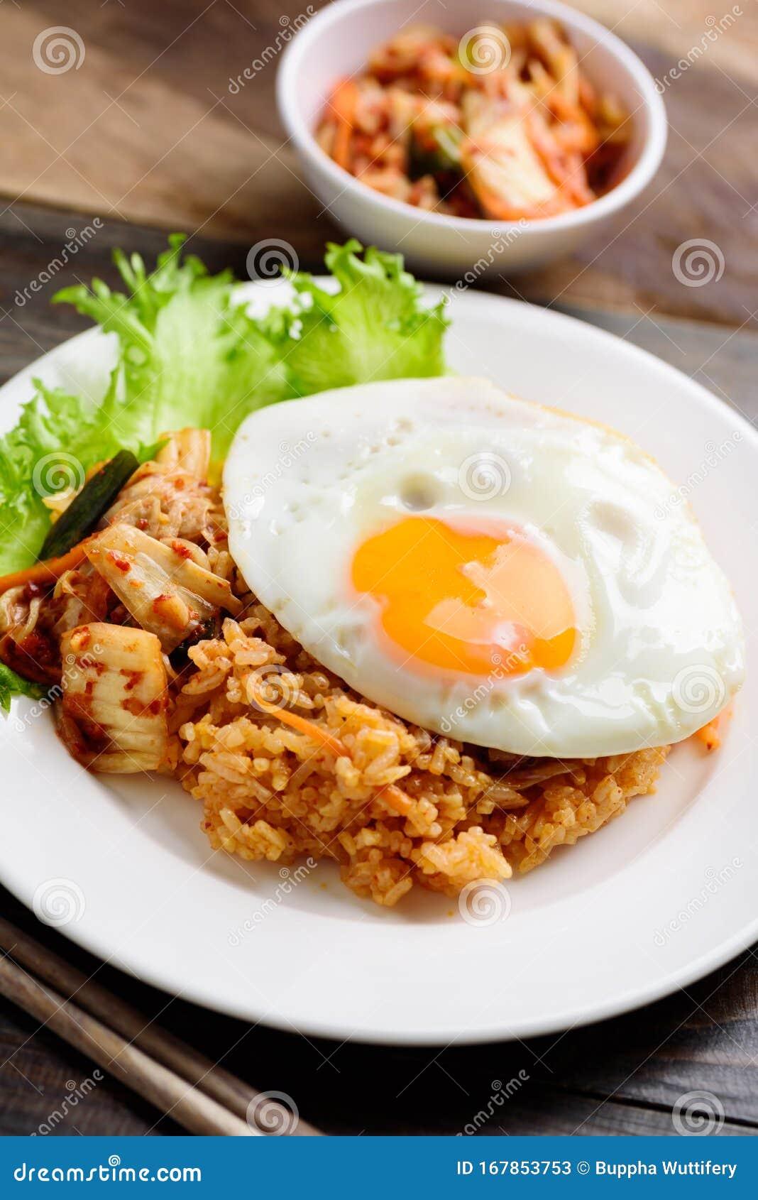 Kimchi Fried Rice With Fried Egg Korean Food Stock Image Image Of Kimchi Rice 167853753