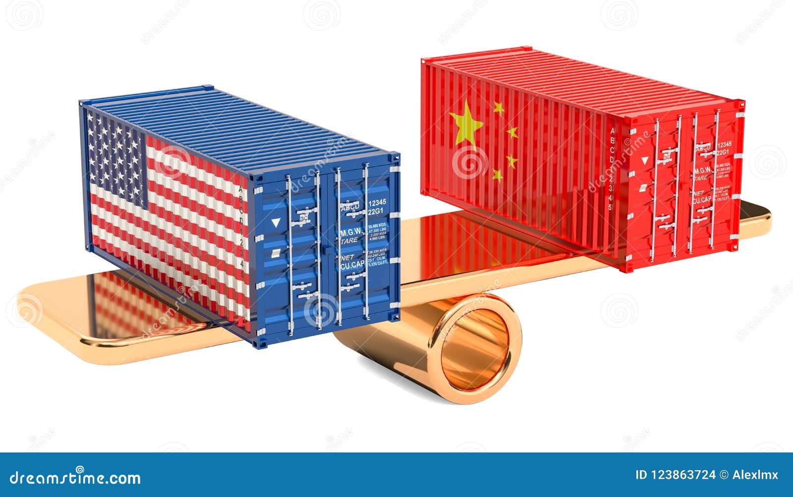 Kina eller USA handel och tariffar balanserar begreppet, tolkningen 3D