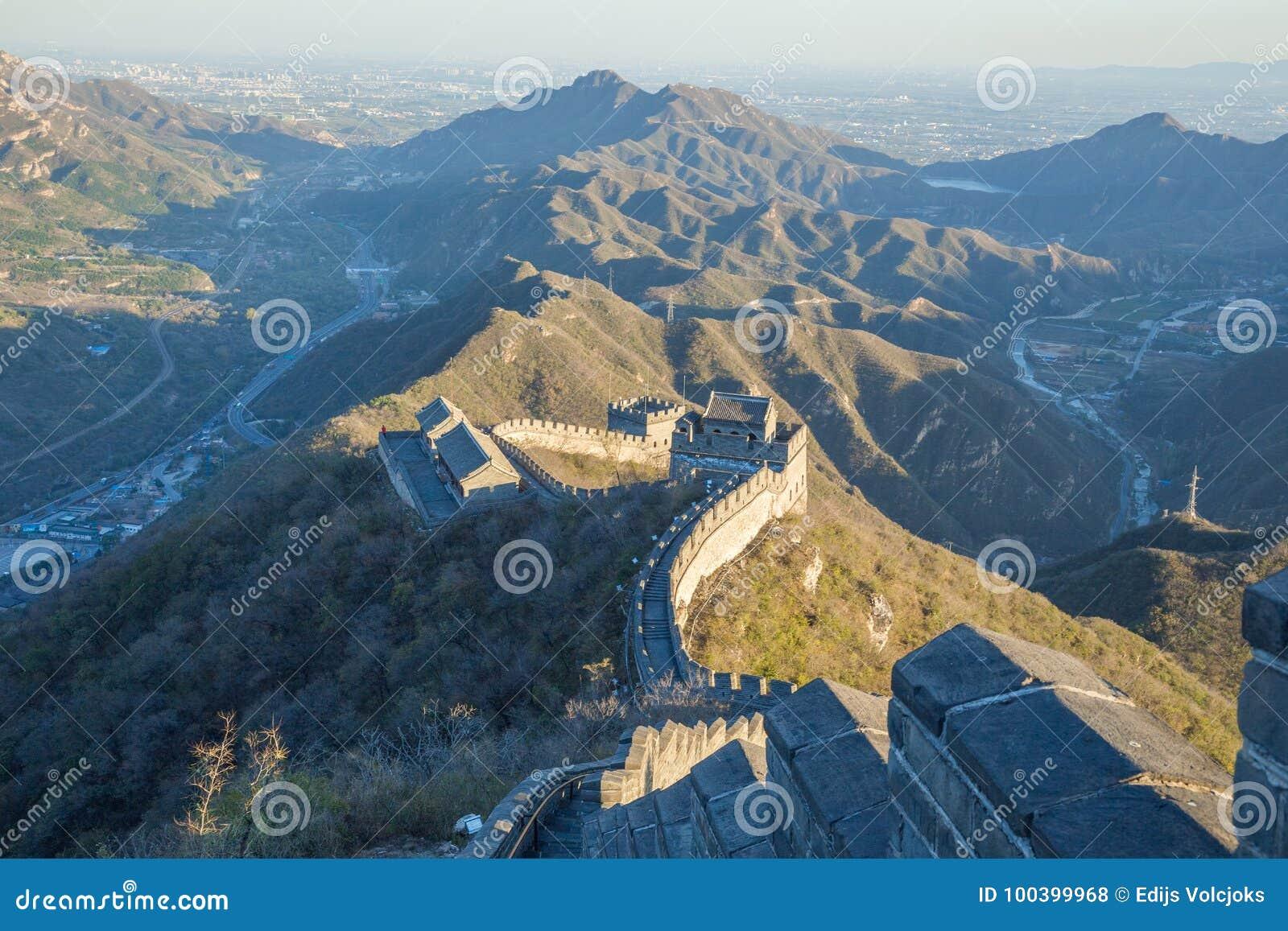 Kina Pekin, Kina vägg, solnedgång, historia 2016