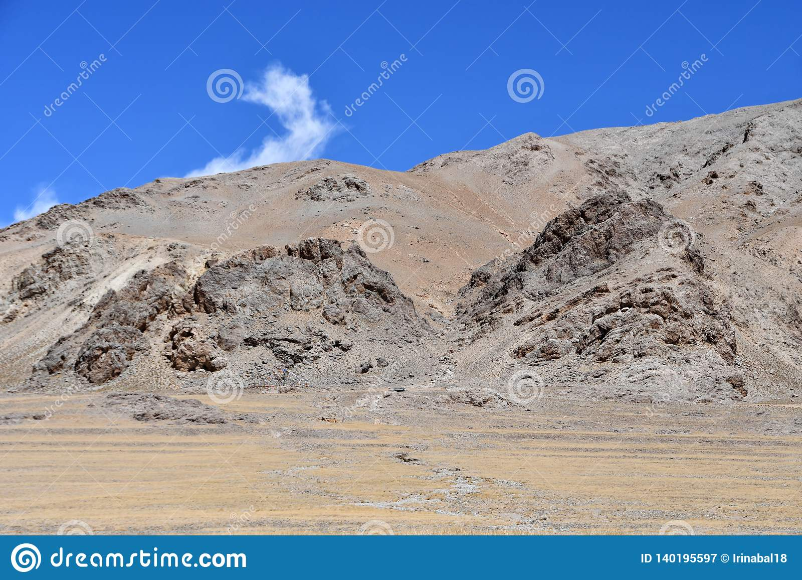 Kina Tibet Himalayas i området av sjön Teri Tashi Nam Co i sommar n-sorg läs vänder mot mytiska beings