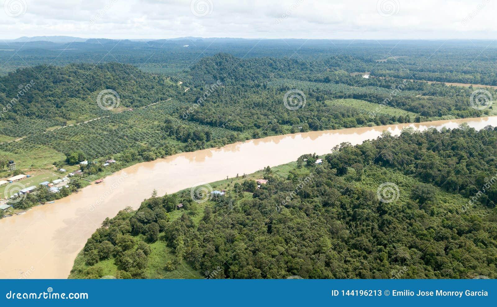 Kinabatanganrivier van hierboven gelegen in Borneo