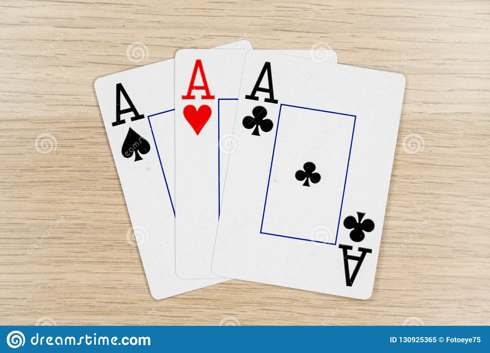 3 Of A Kind Aces - Casino Playing Poker Cards Stock Image
