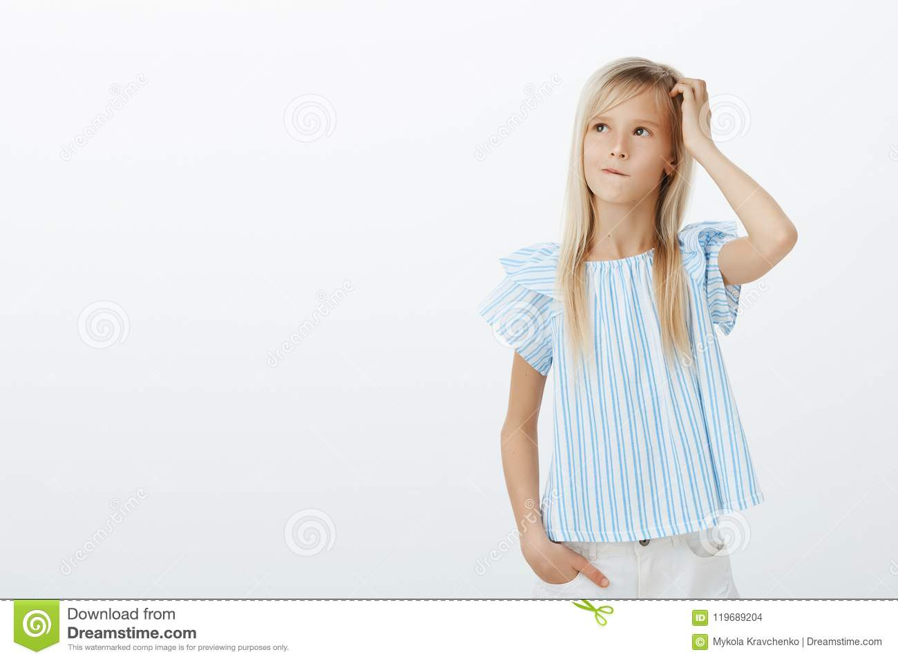Kind Adorable Girl Making Idea How To Cheer Up Mom Confused