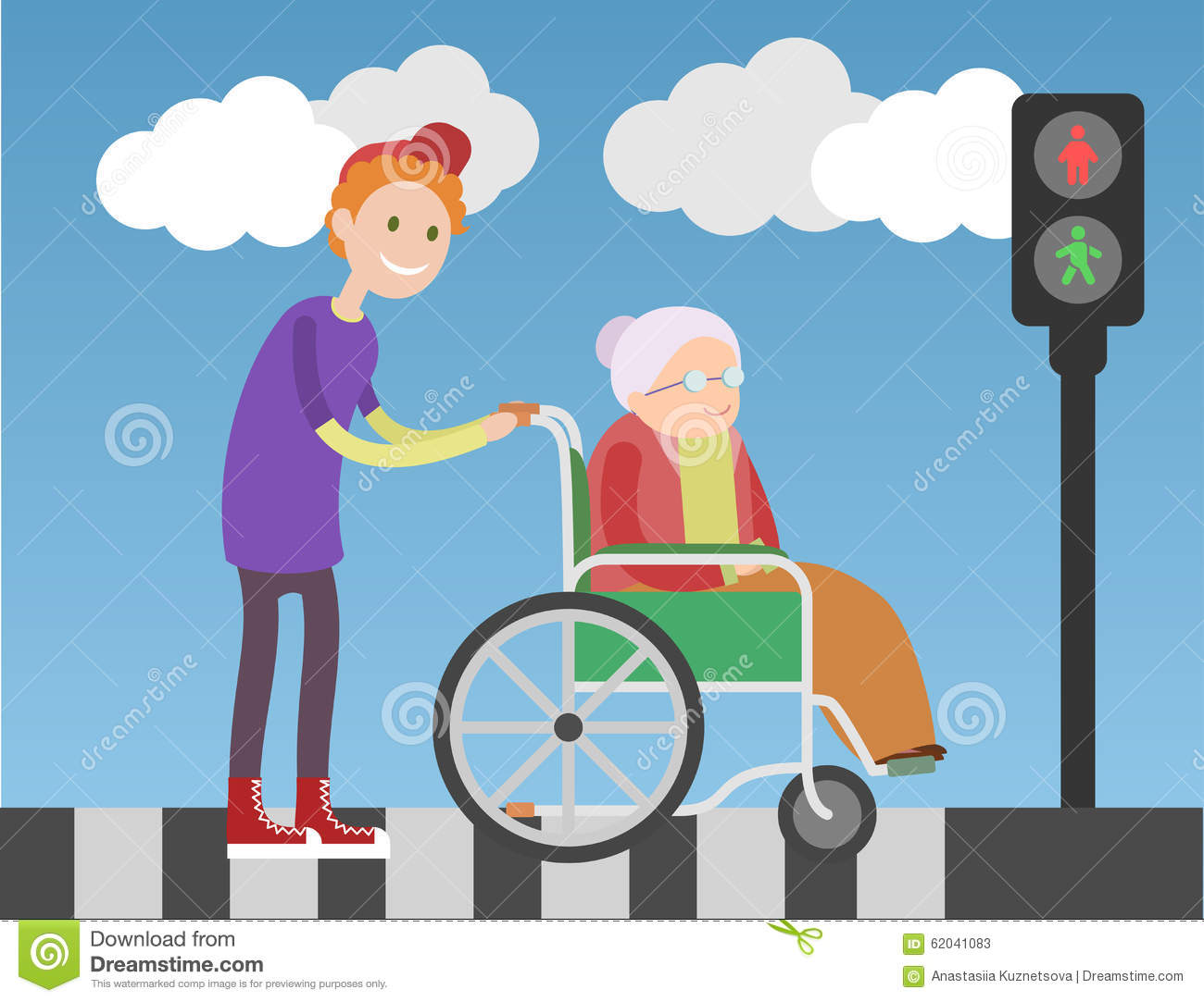 Kind boy helps old lady in wheelchair stock vector image 62041083 - Kind oud ...