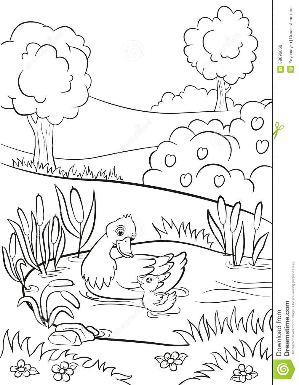Tree coloring pages only coloring pages - Coloring Pages Kind Duck And Little Cute Duckling Swim On The Pond