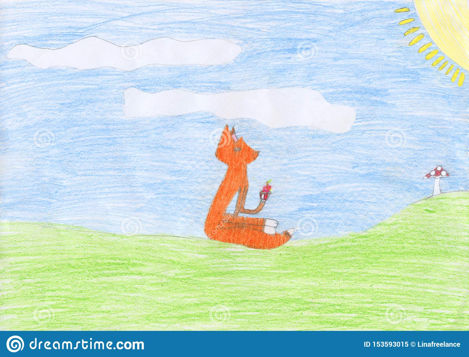 Kind farbige Bleistift-Zeichnung eines Fuchses, der ein Muffin isst